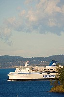 BC Ferry in waters of Georgia Strait, Vancouver Island, British Columbia, Canada
