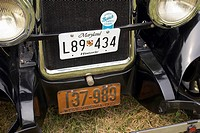 Tags on a historic car