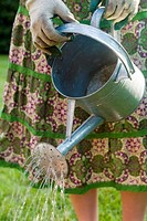 Woman Wearing Gardening Gloves and a Skirt Watering a Plant
