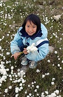 Girl picking Arctic Cotton, Cambridge Bay, Nunavut