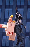 Workers Cleaning a Statue, Old Montreal, Quebec