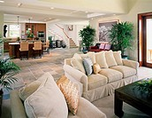 Contemporary Living Room in Coastal Home