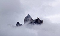 Mountain peaks in the mist, Karakoram Range, Pakistan