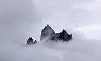 Mountain peaks in the mist, Karakoram Range, Pakistan