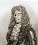 James II aka Duke of York. 1633-1701. King of Great Britain. Engraved by Bocquet from the book A Catalogue of the Royal and Noble Authors published 18...