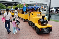 Kid's train attraction on Australia Day, Tumbalong Park, Darling Harbour, Sydney, New South Wales, Australia