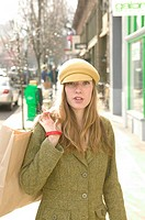 Fashionable Caucasian Girl Shopping At The Trendy Boutiques