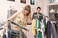 Shopping For Clothes In A Fashionable Boutique