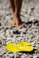 woman on the beach, flip-flop