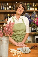 Florist with Gardening Gloves and Shears