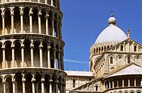 Cathedrale of Pisa, built from 11 th. to 12 th. centuries and detail of the Leaning tower, piazza del Duomo, Pisa, Tuscany. Italy
