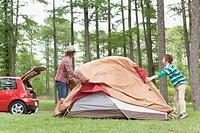 Men Ptching a Tent
