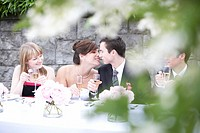 Bride and groom kissing at table, differential view