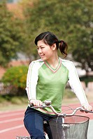 Girl riding on a bicycle