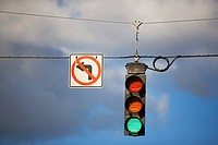 Sign and traffic lights