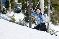 A woman backcountry skiing, Strathcona Provincial Park near Courtenay, BC, Canada