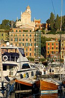Boats at harbor, Santa Margherita Ligure, Liguria, Ligurian Sea, Italy