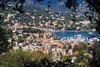 High angle view of town, Santa Margherita Ligure, Liguria, Ligurian Sea, Italy