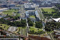 Aerial view of park and government buildings in city, Bundeskanzleramt, Berlin, Germany