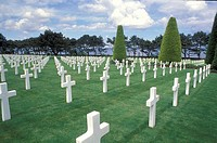 Graves in memory of Normandy war soldiers in cemetery, American WWII cemetery, Normandy, France