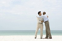 Two businessmen shaking hands and embracing on the beach
