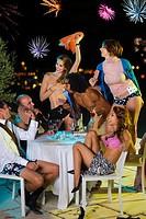 Men and women playing strip-poker