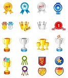 Different types of trophies and medals
