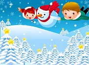 Boy and a girl flying with a snowman