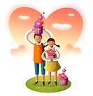 Boy and a girl carrying buckets of heart shaped balloons