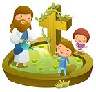 Jesus Christ watering plants with two children standing with him