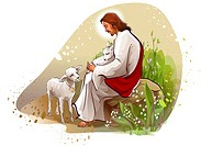 Jesus Christ sitting on a rock with two lambs