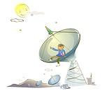 Man sitting on a satellite dish