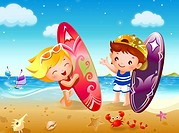 Boy and a girl holding surfboards on the beach