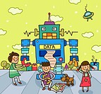 Two girls and a boy in front of a robot