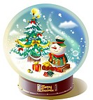 Close-up of a snowman and Christmas tree in a snow globe