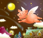 Pig flying in the sky