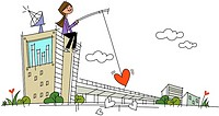Woman sitting on a building and holding a fishing rod with a heart shape