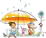 Woman with a rabbit and a bear under an umbrella in rain