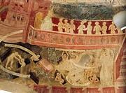 Fresko, Wandmalerei, Auferstehung Kirche St Georg Schenna bei Meran, Südtirol, Italien, 15 Jahrhundert, historisch, Kunst,