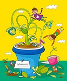 Children playing with potted plants (thumbnail)