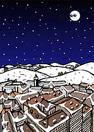 High angle view of snow covered houses in a town and silhouette of reindeers over moon in the sky at night