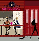 Two women sitting in a coffee shop with another woman walking with her dog