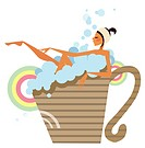 Woman taking a bubble bath in a cup