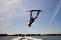 Upside-down wakeboarder