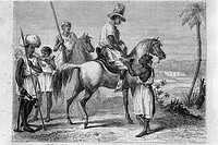 Peuls and Malinkés. Indigenous people of upper Senegal (1850´s). (From ´Le Tour du Monde´ published Paris, 1860´s)