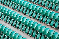 High angle view of empty green chairs in a stadium (thumbnail)