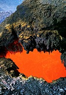 Open 'skylight' reveals river of molten lava flow, Hawaii