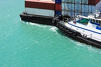 High angle view of a container ship