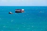 Container ship in the sea, Mawi, Hawaii Islands, USA