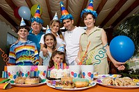 Portrait of a family celebrating a birthday party